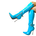 baratos Sapatos de Salto-Mulheres Sapatos Couro Ecológico Inverno Botas da Moda Botas Salto Agulha Dedo Apontado Botas Cano Alto Azul / Rosa claro / Azul Claro