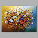 baratos Pinturas Florais/Botânicas-styledecor® moderna mão pintado abstrato um buquê de flores coloridas pintura a óleo sobre tela para arte de parede na tela embrulhada