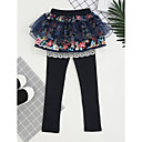 cheap Girls' Jackets & Coats-Girls' Embroidered Pants, Cotton Fall All Seasons Dresswear Lace Blushing Pink Navy Blue