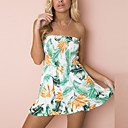 cheap Earrings-Women's Going out Holiday Romper - Floral Strapless