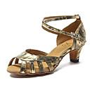 preiswerte Latein Schuhe-Damen Schuhe für den lateinamerikanischen Tanz Kunstleder Sneaker Satin Blume Kubanischer Absatz Maßfertigung Tanzschuhe Gold / Silber