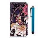 ieftine Cazuri telefon & Protectoare Ecran-Maska Pentru Huawei P20 / P20 lite Portofel / Titluar Card / Cu Stand Carcasă Telefon Elefant Greu PU piele pentru Huawei P20 / Huawei