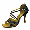 abordables Zapatos de Baile Latino-Mujer Zapatos de Baile Latino / Zapatos de Salsa Brillantina / Semicuero Sandalia / Tacones Alto Hebilla / Corbata de Lazo Tacón Personalizado Personalizables Zapatos de baile Plateado / Rojo / Azul
