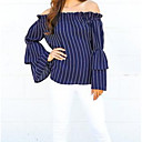 cheap Synthetic Capless Wigs-Women's Blouse - Solid Colored / Striped Off Shoulder / Boat Neck
