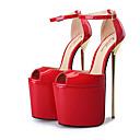 זול סנדלי נשים-בגדי ריקוד נשים נעליים PU אביב קיץ בלרינה בייסיק עקבים עקב סטילטו בוהן מציצה אבזם כסף / אדום / שקד / מסיבה וערב