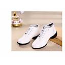 זול Dance Boots-בגדי ריקוד נשים מגפי ריקוד PU נעלי ספורט עקב עבה נעלי ריקוד לבן / שחור / אדום / הצגה / אימון