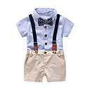 cheap Baby Boys' Clothing Sets-Baby Boys' Blue & White Solid Colored / Striped / Color Block Short Sleeve Clothing Set