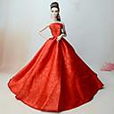 tanie Akcesoria dla lalek-Suknie Sukienka Dla Lalka Barbie Czerwony Bawełniano-poliestrowy / Koronka / Jedwab / Cotton Mieszanka Ubierać Dla Dziewczyny Lalka Zabawka