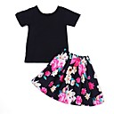 cheap Girls' Clothing Sets-Kids / Toddler Girls' Active Print Short Sleeve Cotton / Polyester Clothing Set Black 2-3 Years(100cm)