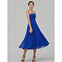 billige Kostymeparykk-A-linje Stroppeløs Telang Chiffon Brudepikekjole med Ruchiing av LAN TING BRIDE®