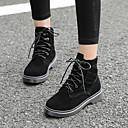 preiswerte Damen Sandalen-Damen Schuhe Leder Frühling Komfort Stiefel Niedriger Heel Schwarz / Mandelfarben