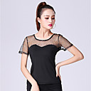 cheap Ballroom Dance Wear-Ballroom Dance Tops Women's Performance Milk Fiber Ruching / Split Joint Short Sleeve Top
