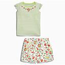 ieftine Pantaloni Fete & Leginși-Copil Fete Dungi / Floral Fără manșon Set Îmbrăcăminte