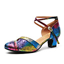cheap Modern Shoes-Women's Modern Shoes Patent Leather Heel Sequin Thick Heel Dance Shoes Rainbow