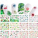 baratos Adesivos de Unhas-12 pcs Adesivos arte de unha Manicure e pedicure Colorido Decalques de unha Casamento / Festa / Dia a Dia