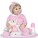 billige Børn Hatte & Hætter-NPKCOLLECTION Reborn-dukker Babypiger 24 inch Fuld krops silicone / Silikone / Vinyl - Kunstig implantation Blå øjne Børne Pige Gave