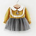 preiswerte Kleider für Babys-Baby Mädchen Aktiv Alltag Patchwork Patchwork Langarm Standard Übers Knie Baumwolle / Polyester Kleid Rosa