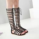 ieftine Sandale de Damă-Pentru femei Pantofi PU Vară Gladiator Sandale Toc Drept Pantofi vârf deschis Negru / Maro / Party & Seară