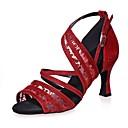 preiswerte Latein Schuhe-Damen Schuhe für den lateinamerikanischen Tanz Kunststoff Sandalen Paillette / Schnalle Keilabsatz Tanzschuhe Schwarz / Braun / Rot
