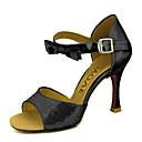 baratos Sapatos de Dança Latina-Mulheres Sapatos de Dança Latina / Dança de Salão Glitter / Courino Salto Gliter com Brilho / Presilha Salto Agulha Personalizável Sapatos de Dança Prateado / Azul / Dourado