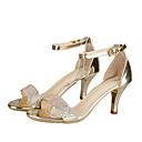 ieftine Sandale de Damă-Pentru femei PU Vară D'Orsay & Două Bucăți Sandale Plimbare Toc Mic Vârf deschis Sclipici Strălucitor Auriu / Argintiu