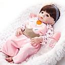 povoljno Lutkice-FeelWind Autentične bebe Za ženske bebe 22 inch Cijeli silikon tijela - vjeran Umjetna implantacija Smeđe oči Dječjom Djevojčice Igračke za kućne ljubimce Poklon
