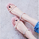 povoljno Ženske sandale-Žene Cipele Mekana koža Ljeto Udobne cipele Sandale Kockasta potpetica Otvoreno toe Biser / Kopča Pink