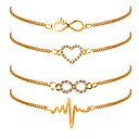 ieftine Ustensile Bucătărie & Gadget-uri-4 buc Pentru femei Brățări cu Lanț & Legături Set de brățări Placat Auriu Inimă Ritm Cardiac femei Clasic Modă Brățări Bijuterii Auriu Pentru Zilnic Birou și carieră