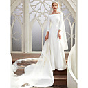 olcso Menyasszonyi fátyol-A-vonalú Bateau nyak Kápolna uszály Szatén Made-to-measure esküvői ruhák val vel által LAN TING BRIDE® / Royal Style