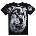 billige Herre Ringe-Herre - Farveblok / Dyr Trykt mønster overdrevet T-shirt Ulv