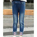 זול מכנסיים וטייץ לבנות-ג'ינס כותנה רקום אחיד / פרחוני פעיל בנות ילדים