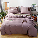 cheap Solid Duvet Covers-Duvet Cover Sets Solid Colored 100% Cotton Embroidery 4 Piece