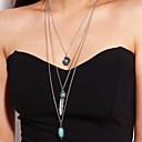 baratos Colares-Mulheres Multi Camadas colares em camadas Colar longo Pena Vintage Na moda Fashion Prata 50 cm Colar Jóias 1pç Para Casual