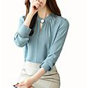 baratos Mocassins Femininos-blusa feminina - decote redondo em cor sólida