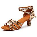 olcso Latin cipők-Női Latin cipők Szatén Sportcipő Kubai sarok Személyre szabható Dance Shoes Leopárd