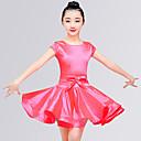 preiswerte Kindertanzkleidung-Latein-Tanz Kleider Mädchen Training / Leistung Elastan Satin Schleife / Horizontal gerüscht Kurzarm Normal Kleid