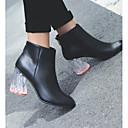 povoljno Ženske ravne cipele-Žene Cipele Mekana koža Jesen zima Modne čizme Cipele na petu Translucent Heel Zatvorena Toe Čizme gležnjače / do gležnja Crn