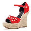 ieftine Sandale de Damă-Pentru femei Pantofi Piele de Căprioară Primavara vara D'Orsay & Două Bucăți Sandale Toc Platformă Pantofi vârf deschis Perle / Cataramă Negru / Rosu