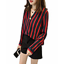 cheap Synthetic Capless Wigs-women's going out cotton shirt - striped v neck