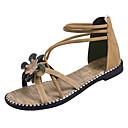 זול סנדלי נשים-בגדי ריקוד נשים PU קיץ רצועת קרסול סנדלים שטוח אבזם שחור / בז'