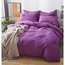 cheap Solid Duvet Covers-Duvet Cover Sets Solid Colored 100% Cotton Printed 4 Piece