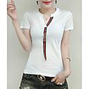 billige Syntetiske parykker uten hette-V-hals T-skjorte Dame - Ensfarget