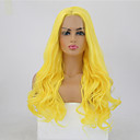 cheap Doll Wigs-Synthetic Lace Front Wig Wavy Style Middle Part Lace Front Wig Blonde Yellow Synthetic Hair 24 inch Women's Adjustable / Heat Resistant / Party Blonde Wig Long Natural Wigs / Yes