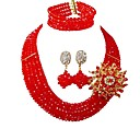 cheap Necklaces-Women's Layered Jewelry Set - Austria Crystal Moon Fashion Include Strands Necklace Peach / Red / Hot Pink For Party Daily