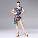 abordables Ropa para Baile Latino-Baile Latino Vestidos Mujer Rendimiento Seda Sintética Diseño / Estampado / Fruncido Manga Corta Vestido
