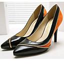 abordables Tacones de Mujer-Mujer Zapatos Ante / Cuero de Napa Primavera verano Pump Básico Tacones Tacón Stiletto Dedo Puntiagudo Naranja / Fiesta y Noche