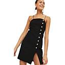 baratos Fantasias de Halloween-Mulheres Para Noite Básico Bainha Vestido Sólido Com Alças Mini Preto