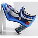 זול שרשרת אופנתית-בגדי ריקוד נשים נעליים סינטטיים אביב / סתיו נוחות / בלרינה בייסיק עקבים עקב עבה כסף / כחול