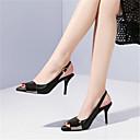 povoljno Ženske sandale-Žene Koža Ljeto Obične salonke Sandale Stiletto potpetica Peep Toe Crn / Pink