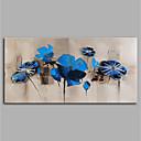 זול אומנות ממוסגרת-ציור שמן צבוע-Hang מצויר ביד - מופשט / פרחוני / בוטני מודרני ללא מסגרת פנימית / בד מגולגל